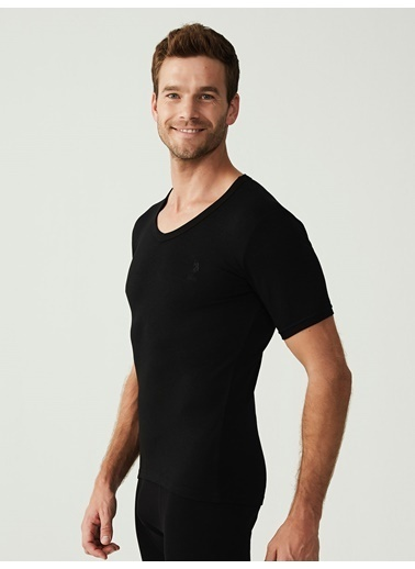 U.S. Polo Assn. Termal Erkek Kısa Kol T-Shirt Siyah